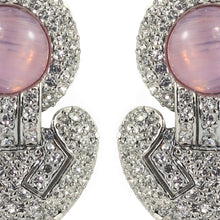 Load image into Gallery viewer, Ciner NYC Pavéd Crystal Statement Earrings - Clear, Light Pink - (Clip-On Earrings)