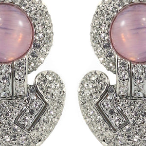 Ciner NYC Pavéd Crystal Statement Earrings - Clear, Light Pink - (Clip-On Earrings)