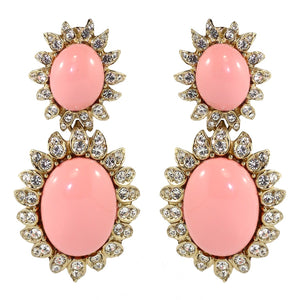 Ciner NYC Pale Cabochon Cabochon Statement Earrings - (Clip-On Earrings)