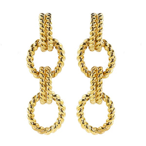 Ciner NYC 18K Gold Plated Rope Chain Earrings