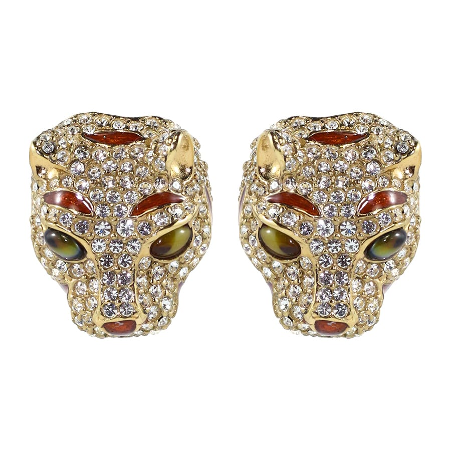 Ciner NYC Crystal Emerald Eyes Tiger Earrings