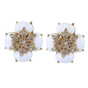 Ciner NYC Crystal White Cabochon Flower Earrings