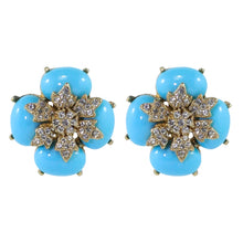 Load image into Gallery viewer, Ciner NYC Crystal Baby Blue Cabochon Flower Earrings