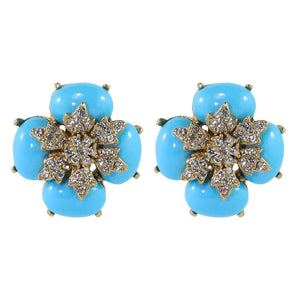 Ciner NYC Crystal Baby Blue Cabochon Flower Earrings