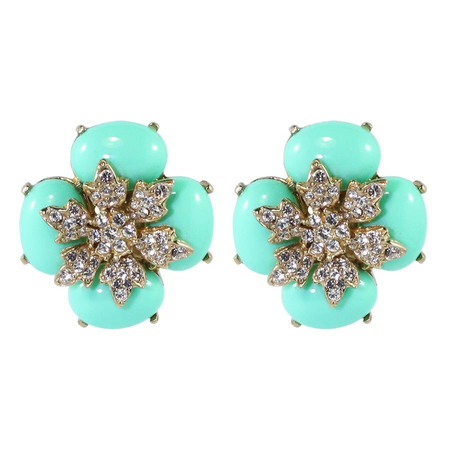 Ciner NYC Crystal Light Mint Green Cabochon Flower Earrings