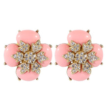 Load image into Gallery viewer, Ciner NYC Crystal Light Coral Cabochon Flower Earrings