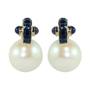 Ciner NYC 18K Gold Plated Faux Pearl - Crystal Earrings