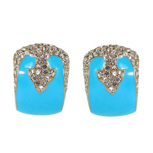 Ciner NYC 18K Gold Plated Turquoise Enamelled - Crystal Deco Design Earrings - (Clip-On Earrings)