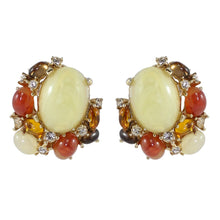 Load image into Gallery viewer, Ciner NYC Cabochon and Crystal Cluster Earrings