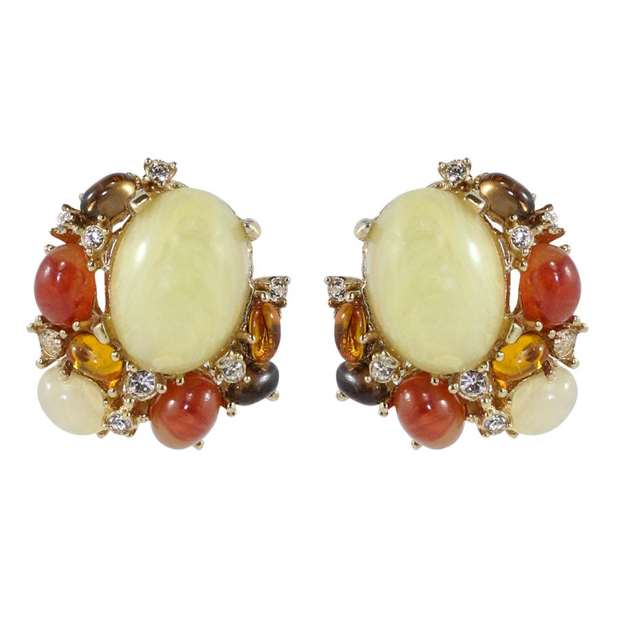Ciner NYC Cabochon and Crystal Cluster Earrings