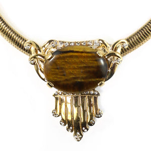 Ciner NYC 18K Gold Plated Tigers Eye Cabochon & Crystal Statement Necklace
