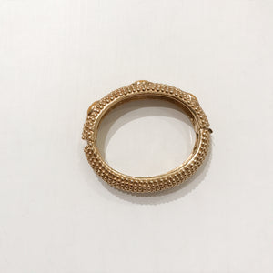 Ciner NY 18K Gold Plating & Cabochon Box & Tongue Clasp Bracelet