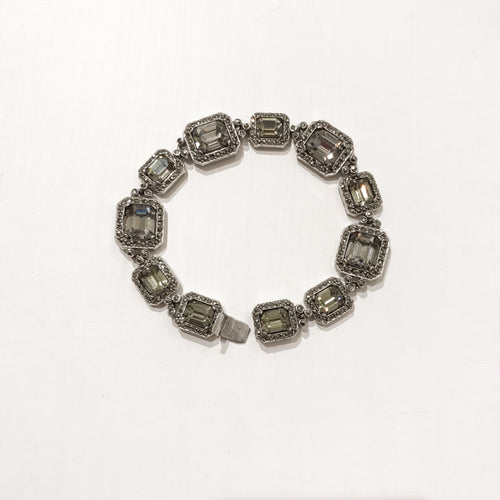 Ciner NY Rhodium & Black Diamond Box & Tongue Clasp Bracelet