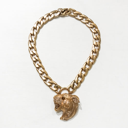 Ciner NY Gold Plated & Crystal Entwined Lions Head Roaring Chunky Necklace