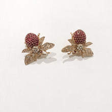 Load image into Gallery viewer, Ciner NY Gold Plated 100th Anniversary Bee Earrings with Siam Eyes & Body (Clip-on)