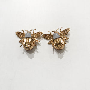 Ciner NY Gold Plated 100th Anniversary Bee Earrings with Siam Eyes & Body (Clip-on)