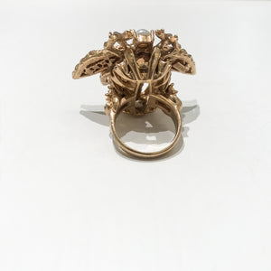 Ciner NY 18K Gold Plated, Pearl & Crystal Dragonfly Ring