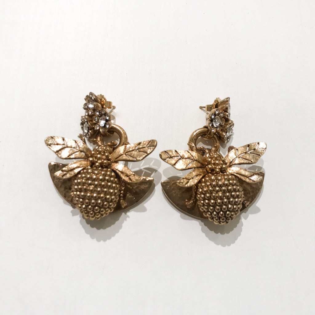 Ciner NY Gold Plated Drop Bee Earrings with Clear Crystal Eyes (Pierced)
