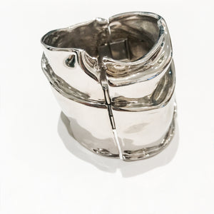 Ciner NY Polished Silver Tone Sculpted Statement Cuff