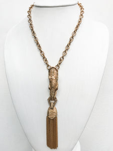 Ciner NY Gold Plated & Crystal Zebra tassel Chain Necklace