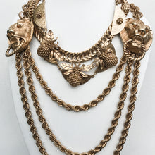 Load image into Gallery viewer, Ciner NY Gold Plated Giant Lion Double Door Knocker Thick Link Chain Necklace