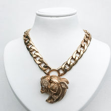 Load image into Gallery viewer, Ciner NY Gold Plated & Crystal Entwined Lions Head Roaring Chunky Necklace