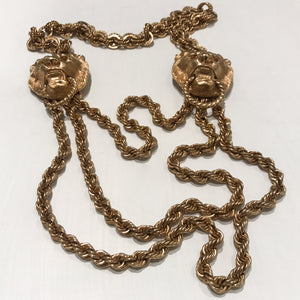 Ciner NY Gold Plated Giant Lion Double Door Knocker Thick Link Chain Necklace