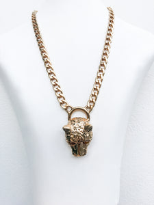 Ciner NY Gold Plated Small Cougar Chain Necklace