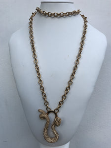 Ciner NY Gold Plated Medium Chain Wrap Around Golden Dragon Pendant Necklace
