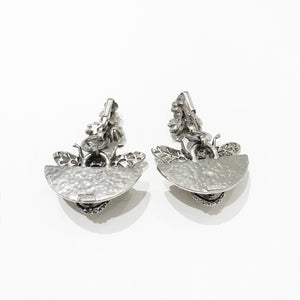 Ciner NY Silver Drop Bee Earrings with Clear Crystal Eyes (Clip-On)