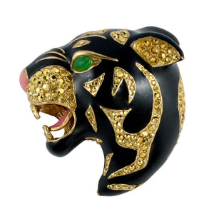 Ciner NY Black Enamel Panther Statement Pin - Brooch