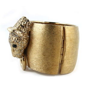 Ciner NY Brushed Gold Lioness Head Cuff