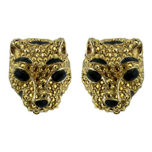 Load image into Gallery viewer, Ciner NY Gilded Gold Crystal Lioness Earrings (Clip-on)