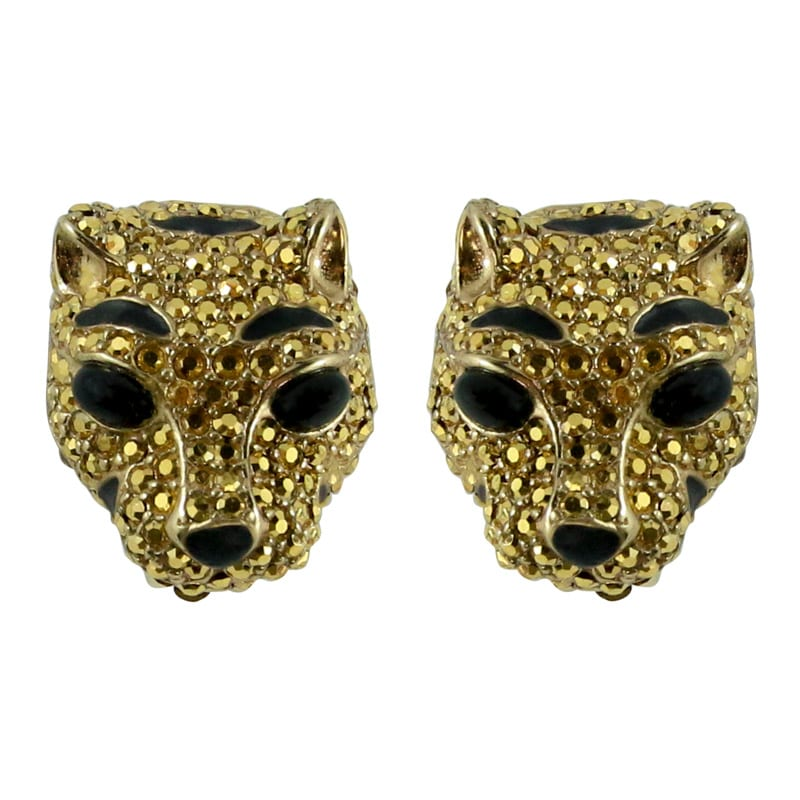 Ciner NY Gilded Gold Crystal Lioness Earrings (Clip-on)