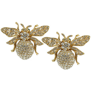 Ciner NY 24kt Plated 100th Anniversary Bee Earrings with Emerald Eyes (Clip-on)