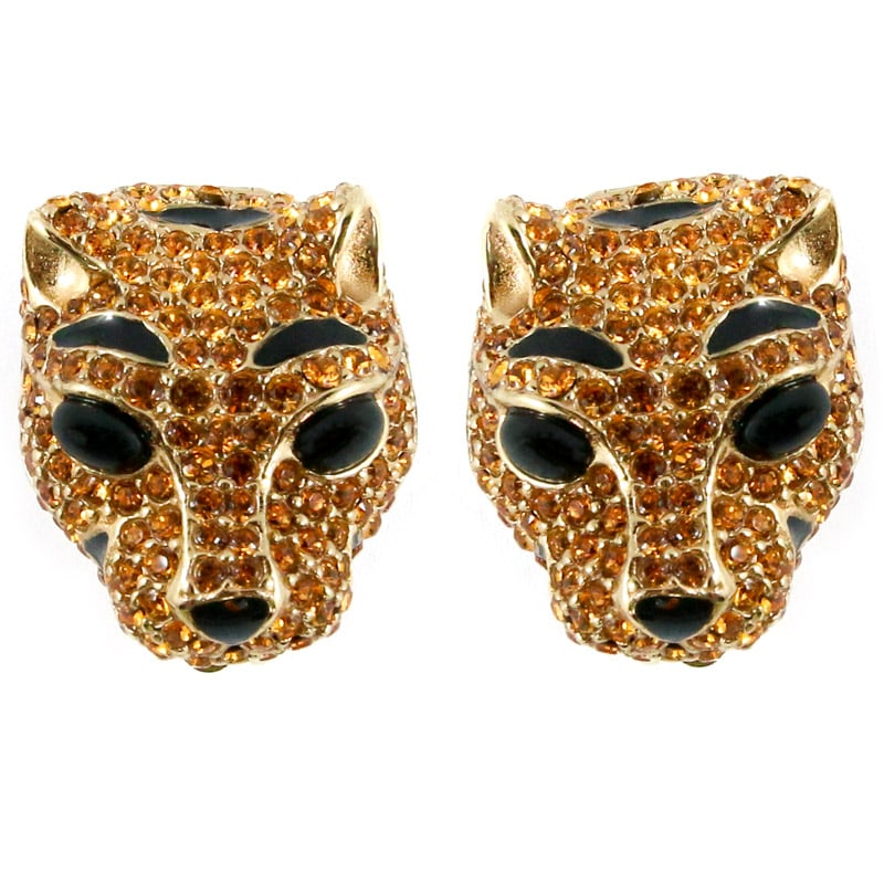 Ciner NY Gilded Topaz Crystal Lioness Earrings (Clip-on)