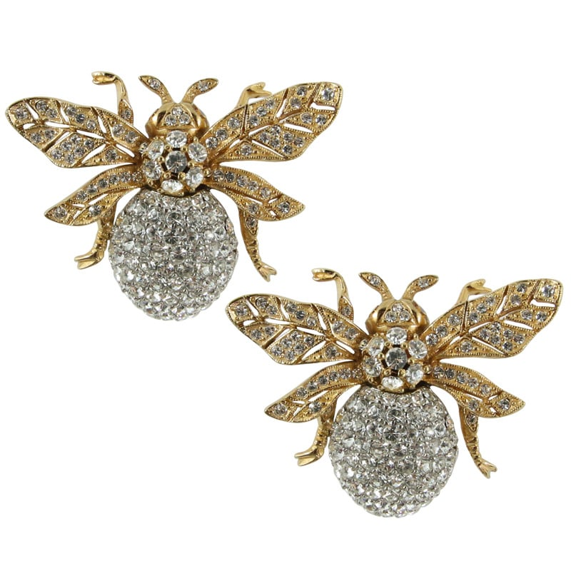 Ciner NY 24kt Plated 100th Anniversary Bee Earrings with Topaz Eyes (Clip-on)