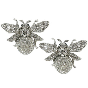 Ciner NY Chrome 100th Anniversary Bee Earrings with Black Eyes (Clip-on)