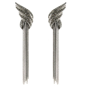 Ciner NY Chrome Crystal Large Deco Tassel Chain Earrings