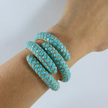Load image into Gallery viewer, Ciner NY Turquoise Crystal - Gold Plate Clamper Bangle
