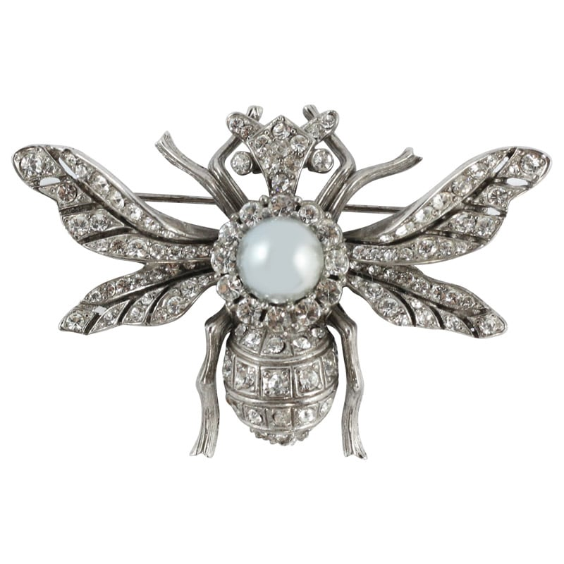 Ciner NY Chrome - Grey Faux Pearl Insect Pin - Brooch