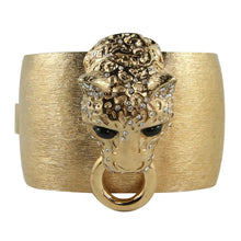 Load image into Gallery viewer, Ciner NY Brushed Gold Lioness Head Cuff