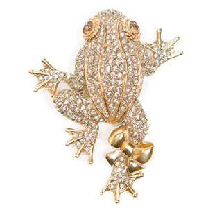 Ciner NY 18kt Gold Plated, Crystal Leaping Frog Brooch