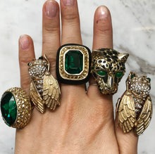 Load image into Gallery viewer, Ciner NY 18 kt Gold Plated - Emerald Her Majesty Ring - Size 7
