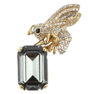 Ciner NY 24kt Gold Plated Bee Brooch Carrying a Black Diamond Crystal