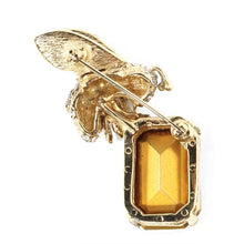 Load image into Gallery viewer, Ciner NY 24kt Gold Plated Bee Brooch Carrying a Black Diamond Crystal