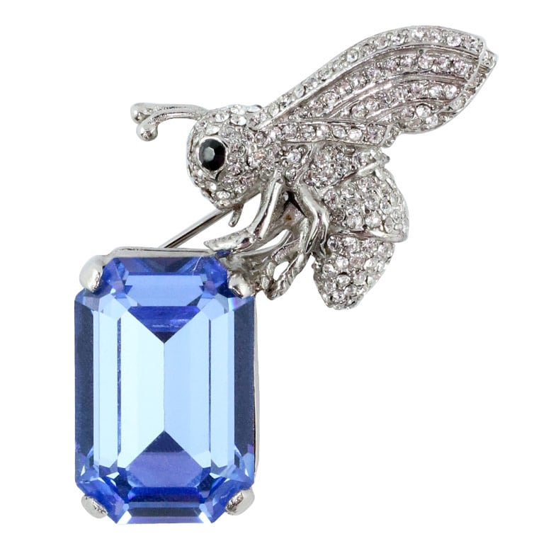 Ciner NY Rhodium Bee Brooch Carrying a Light Sapphire Crystal