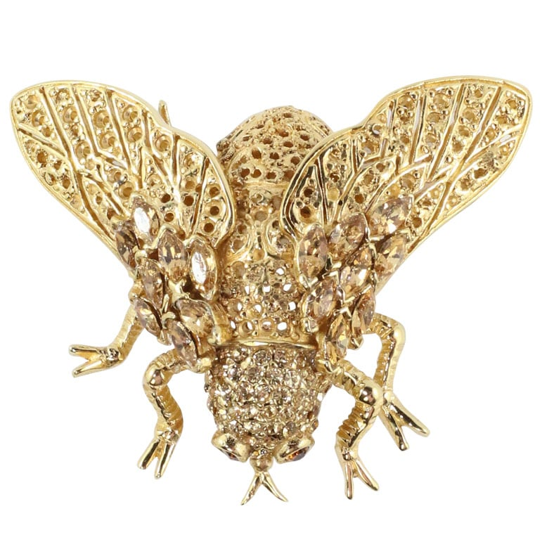 Ciner NY Gold-tone & Crystal Beetle Bug Brooch with Topaz Eyes
