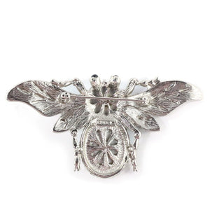 Ciner NY Rhodium Faux Pearl & Clear Crystal Bug Brooch