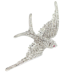 Ciner NY Ethereal Rhodium Sculpted Bird Pin